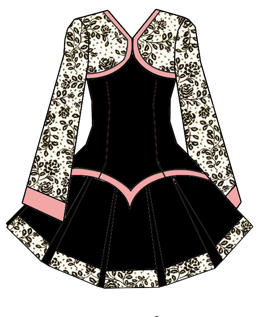 Black velvet for the base, with a (faux) silk with velvet roses fabric for the bolero and old pink accents.