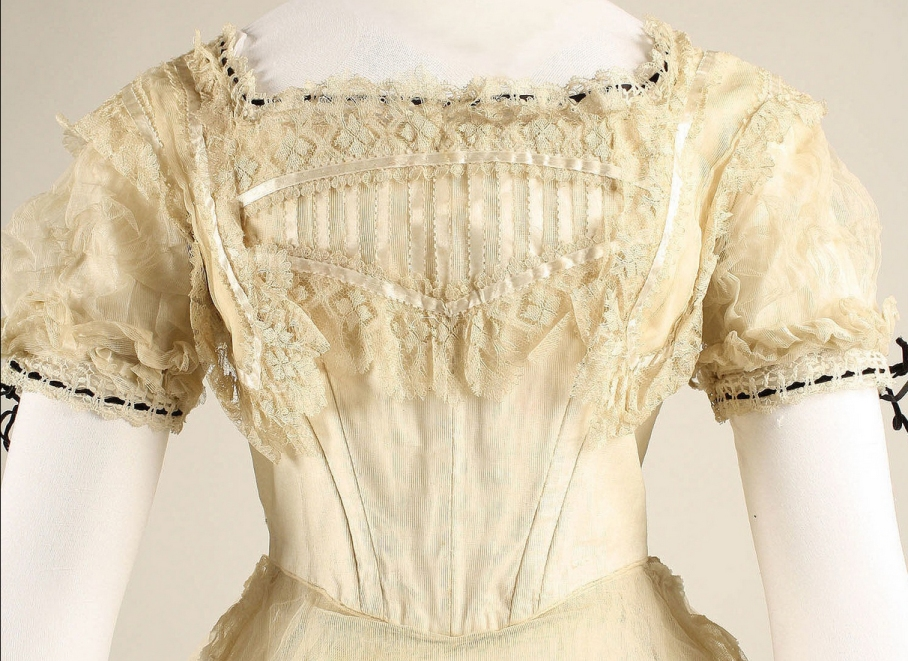 Ball gown Date: ca. 1869 Culture: British Medium: cotton, silk