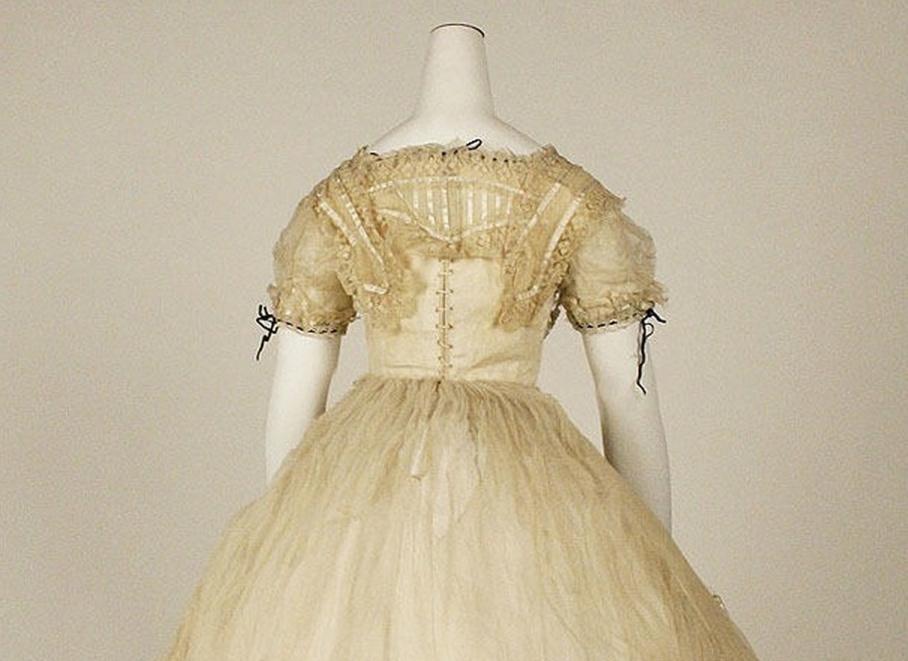 Ball gown Date: ca. 1869 Culture: British Medium: cotton, silk