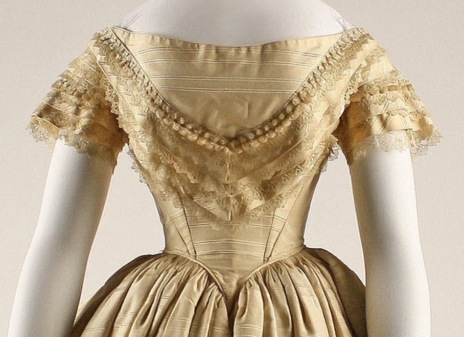 Wedding dress Date: 1859 Culture: American Medium: silk
