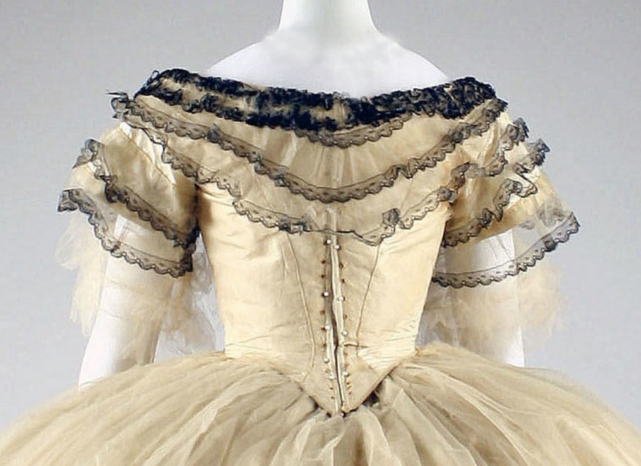 Ball gown Date: 1856–59 Culture: American or European Medium: silk