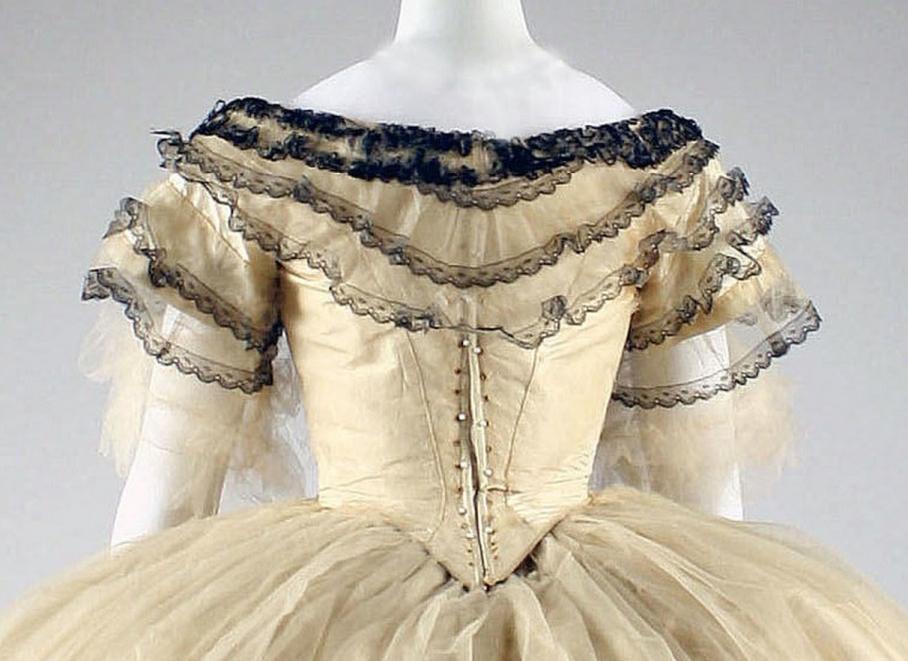Ball gown Date: 1856–59 Culture: American or European Medium: silk