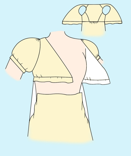 Regency dresses - Cross-over Apron front